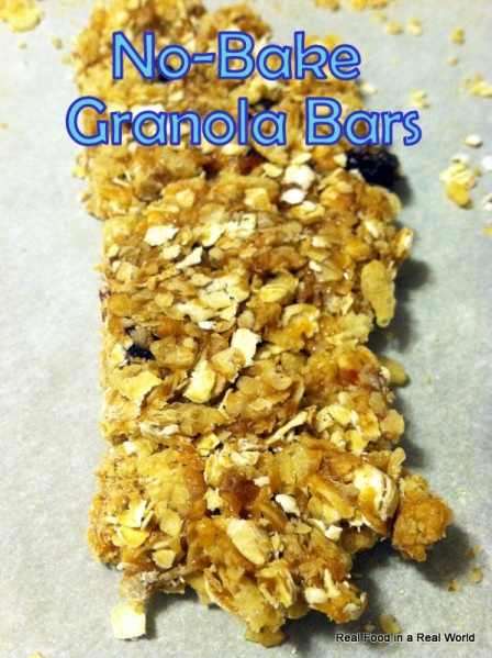 No Bake Granola Bars realfoodinarealworld.com